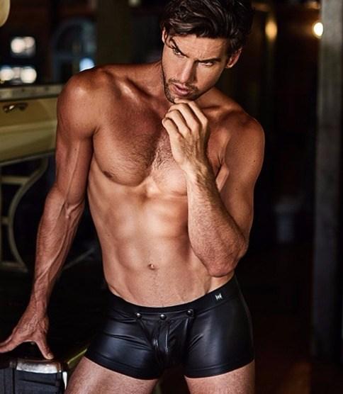 black boxer crave in leatheretteand front detachable pouch