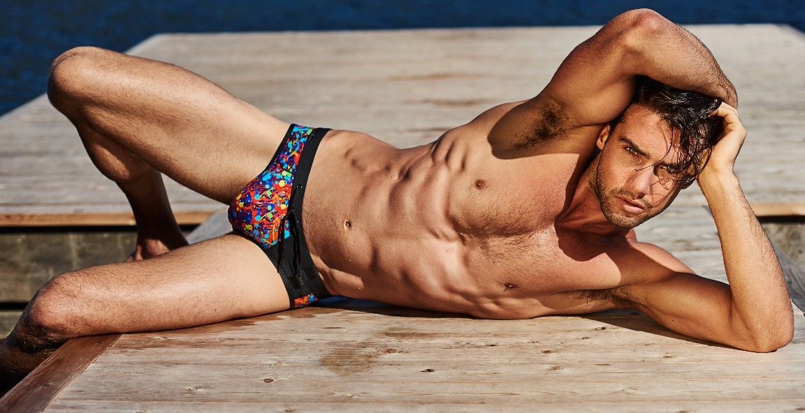 swimwear brief with colorful pattern
